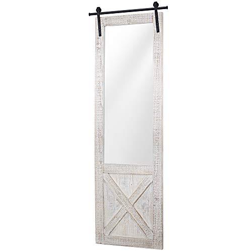 American Art D cor Whitewashed Wood Hanging Barn Door Wall Mirror