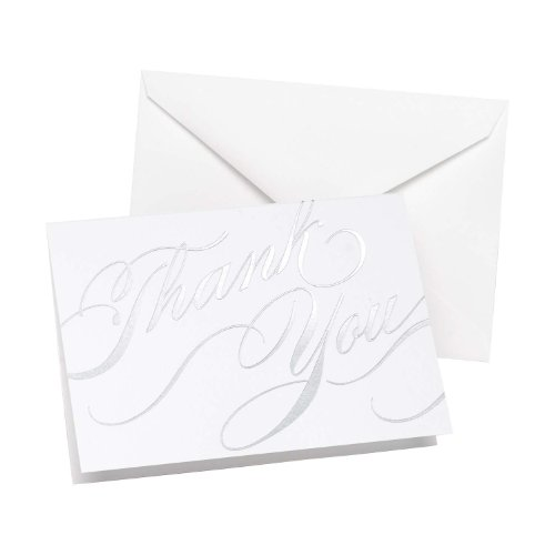 Hortense B Hewitt Silver Unending Gratitude Thank You Cards, 50-Pack (Silver Card Wedding)