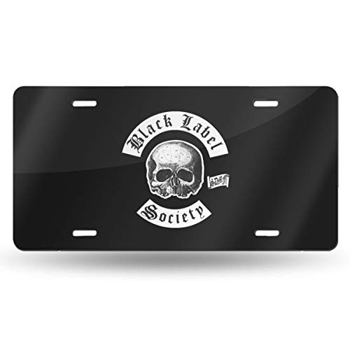 Society Cover - Bayarsea License Plate Black Label Society Classic Skull Logo 3D Funny Auto Car Tag Metal Cover