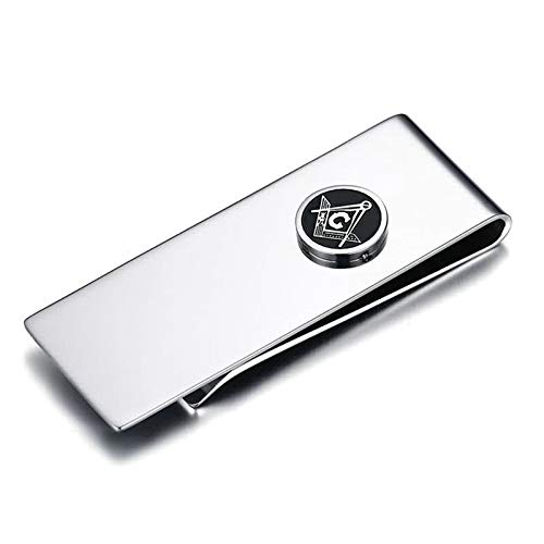 MoAndy Money Clip for Men Stainless Steel Mens Money Clip Card Holder Silver Rectangle High Polished Masonic Symbol Hypoallergenic 5.9X2.2CM - Engraved Nfl Money Clip