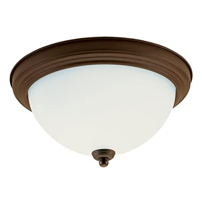 Sea Gull Lighting 77064-829 Rialto Two-Light Close to Ceiling, Russet Bronze Finish with Satin Etched Glass