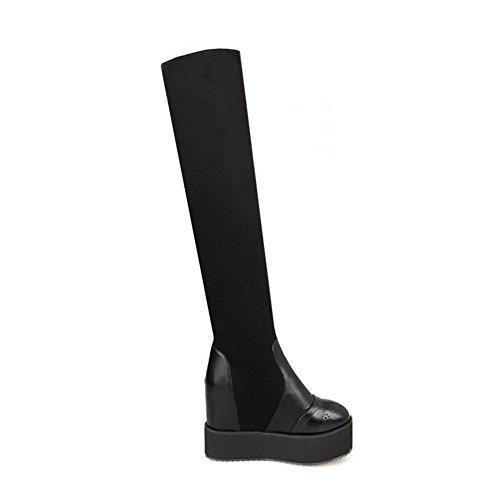 redonda tacones botas punta para suave Allhqfashion de material de Botas negras altos en mujeres sólidas qwpvaz7nW