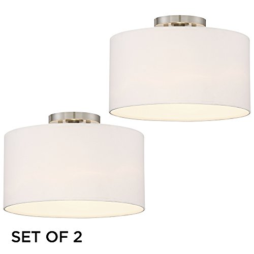 Adams White Drum Shade Ceiling Lights Set of 2