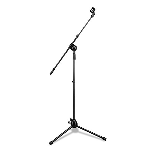 Mugig Boom Microphone Stand, Telescoping Tripod Compact Microphone Stand, 360 Rotate,Portable and Adjustable, Suitable for Performance, Rehearsal and Lecture