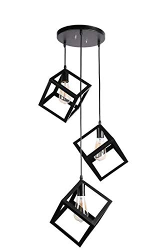 Areezo ARWL29_1P Hanging Pendant Ceiling Lamp, Black, Cube Shape