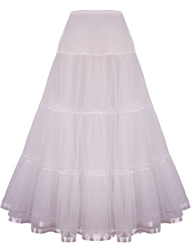 Shimaly Women's Floor Length Wedding Petticoat Long Underskirt for Formal Dress (S-L, Ivory)