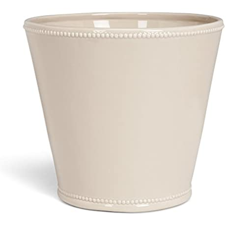 Abbott Collection Jenny Ceramic Planter W Beaded Trim Sand Extra Large