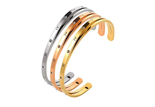 Designer Inspired Titanium Steel Roman Numeral Open Cuff Love Bracelet with Swarovski Crystals (3pcs Silver, Gold, Rose -
