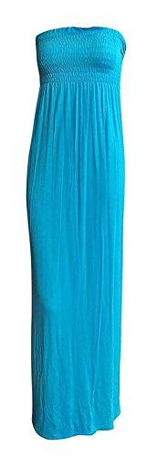Sheering Dress Maxi Plain Boobtube Womens 21FASHION Maxi Bandeau Ladies Sleeveless Turquoise Summer Long qUnHHg
