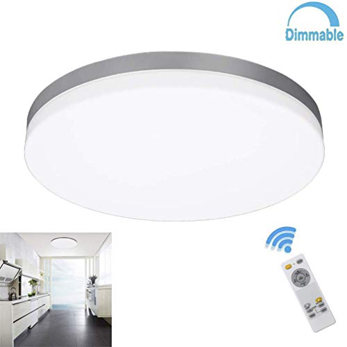 DLLT 24W Modern Dimmable Led Flushmount Ceiling Light Fixture with Remote-13 Inch Round Close to Ceiling Lights for Bedroom/Kitchen/Dining Room Lighting, 3000K-6000K 3 Light Color Changeable
