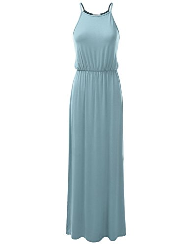 Doublju Stretchy Side Slit Halter Neck Maxi Dress for Women with Plus Size (Made in USA) Steelblue (Drawstring Dress)