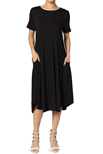 A-line Jersey - TheMogan Women's Short Sleeve Pocket A-Line Fit and Flare Midi Dress Black L