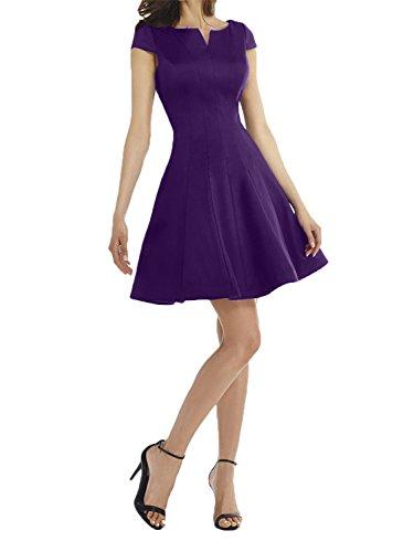 Tanzenkleider Royal Brautmutterkleider Festlichkleider Lila Damen Abendkleider Charmant Dunkel Kurzes Blau Mini Partykleider fC6wz