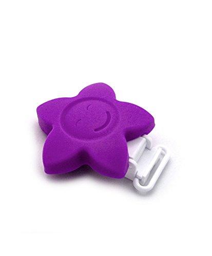RUBY - 1 Pinzas de Silicona Clips Estrella Pinzas de Chupete para Niños Bebés. ENVÍOS Desde ESPAÑA (Morado)