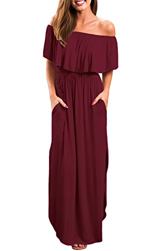 (Womens Off The Shoulder Ruffle Party Dresses Side Split Beach Maxi Dress Red XL)