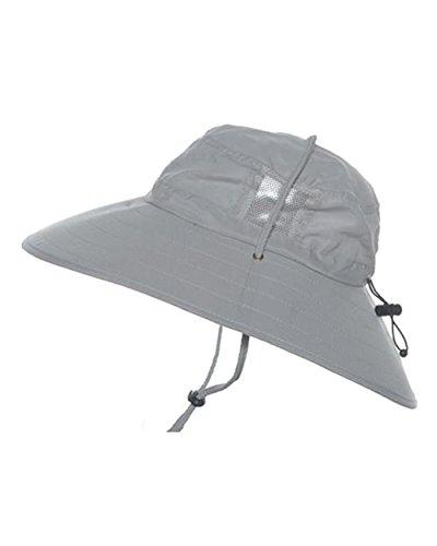 Sun Protection Zone Kids Unisex Lightweight Adjustable Outdoor Booney Hat (100 SPF, UPF 50+) - Light Gray