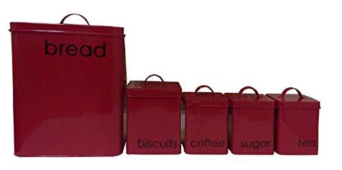 Red and Home SK13103-SET5-004 Juego de 5 Canister para Pan, Biscuits, Café, Azúcar y Te, color rojo