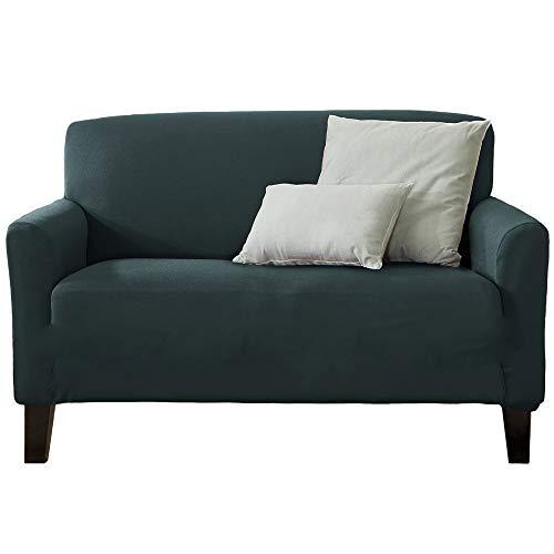 Home Fashion Designs 1-Piece Spandex Slipcover Dawson Collection. (Love Seat, Mirage Blue)