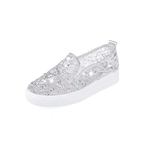 Casual Per Respirante Shoes Scarpe Fitness Pigre Ragazza Pu Pelle Sneakers Sport Running 2019 Sliver Rete Scarpa Donna Nuovi Women Ihengh Stampa Regalo Ginnastica Moda wqFOYOa