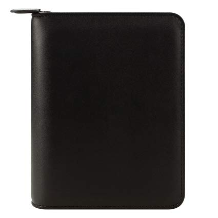 Compact FC Basics Simulated Leather Zipper Binder - Black