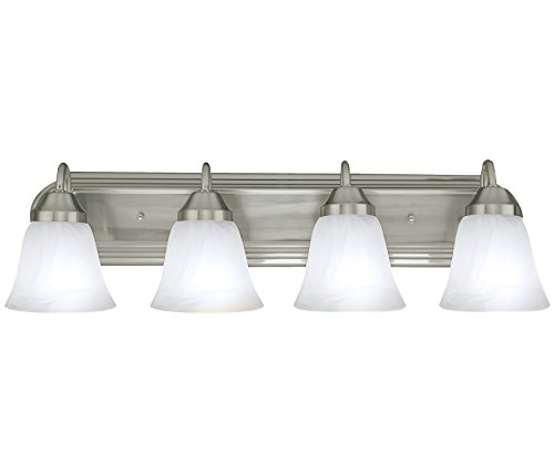 Four Globe Bathroom Vanity Light Bar Bath Fixture, Brushed Nickel with Alabaster Glass by Bennington