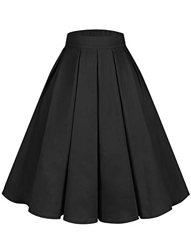 Bridesmay Women's Vintage Pleated Floral Printed A-line Swing Skirt with Pockets Black L