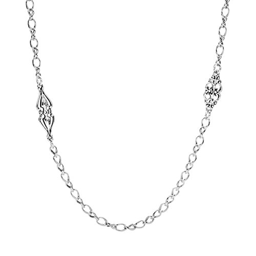 Carolyn Pollack Sterling Silver Couture Station Chain Necklace 32 Inch