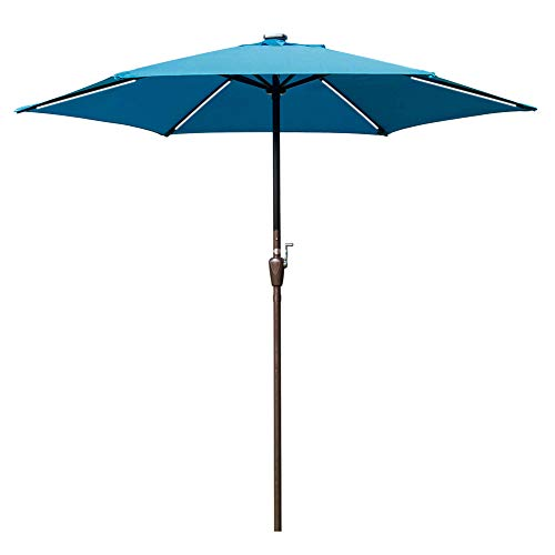 Sundale Outdoor 9 ft Solar Powered 6 LED Stripe Lighted Patio Umbrella Table Market Umbrella with Crank Lift for Garden, Deck, Backyard, Pool, 6 Steel Ribs Lake Blue