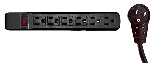 Horizontal Outlets 4 Feet Surge Protector Black Plastic 6 Outlet Flat Rotating Plug Power Cord 4 Pack