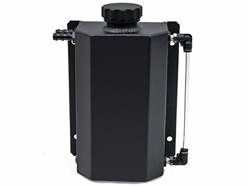 2L Alloy Universal Water Coolant Overflow Expansion Tank Reservoir 12mm Barb Billet Aluminum Cap (Black) ()