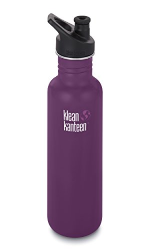 Klean Kanteen Classic Stainless Steel Single Wall Non-Insulated Water Bottle with Sport Cap, 27-Ounce, Winter Plum