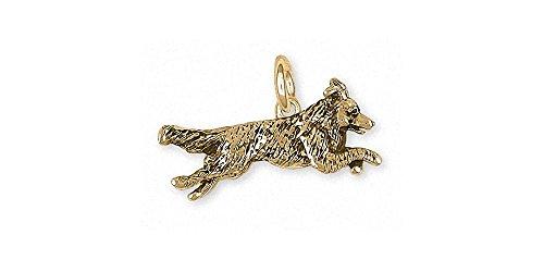Border Collie Charm Jewelry 14k Gold Handmade Dog Charm BDC41X-CG
