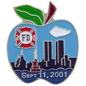 Metal Lapel Pin - New York - FDNY Apple