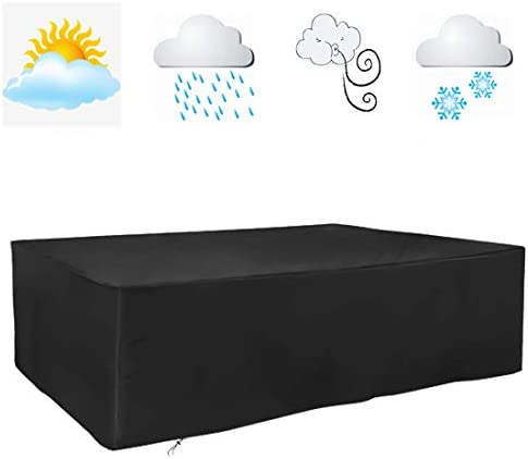 FLR 120x54x38inches Patio Table Cover Veranda Rectanguler Black Waterproof Outdoor Dinner Protector Dust-Proof Table Desk Cover Furniture Covers with Storage Bags for Garden Outdoor Indoor Furniture