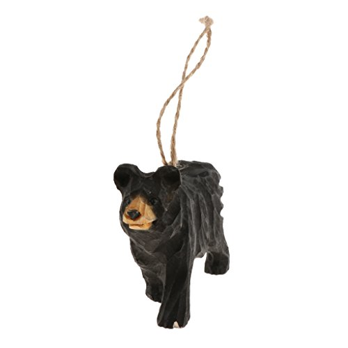 MagiDeal 100% Hand Carved Hanging Animal Statue Figurines Sculpture Wooden Hanging Christmas Ornament Home Garden Rustic Decorations - 10.5x2.6x7cm black bear