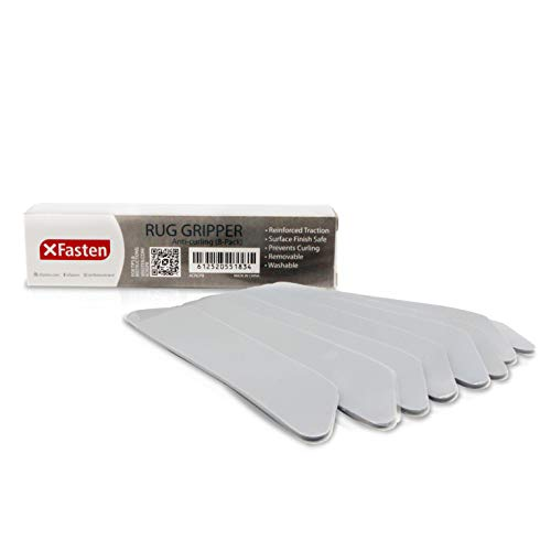 XFasten Anticurling Rug Gripper, 8-Pack Anti-Slip for Area Rug and Carpet Flooring Corners; Flattens Rugs and Keeps Carpets from Curling, Sliding and Slipping