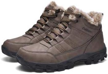 メンズアウトドアスポーツハイトッププラスベルベット暖かい雪のブーツPU素材を加えたベルベットの肥厚、内側滑り止め耐摩耗性ラバーソールコットンブーツ (色 : 褐色, サイズ : 28 CM)