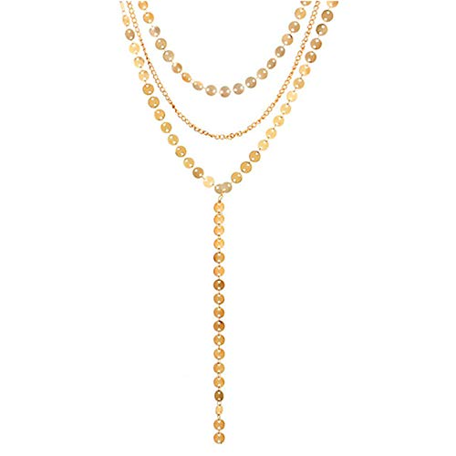 Boosic Coin Chain Lariat Choker Gold Disc Pendant Necklace with White Cyrstal