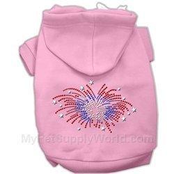 Mirage Pet Products 14-Inch Fireworks Rhinestone Hoodie, Large, Pink