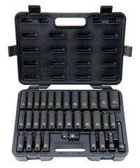 Blackhawk UW-533CDS - Impact Socket Set - Imperial & Metric Measurement System, Number of Sockets: 33 PC, 1/2 in Drive Size, 6 PT Socket Points, 2-7/32 in, 3-15/16 in, 3-7/32 in Overa
