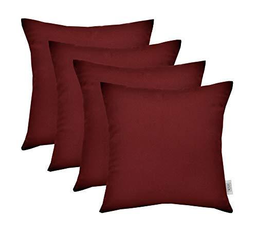 RSH Décor Set of 4 Indoor/Outdoor Square Throw Pillows Sunbrella Canvas Burgandy (17