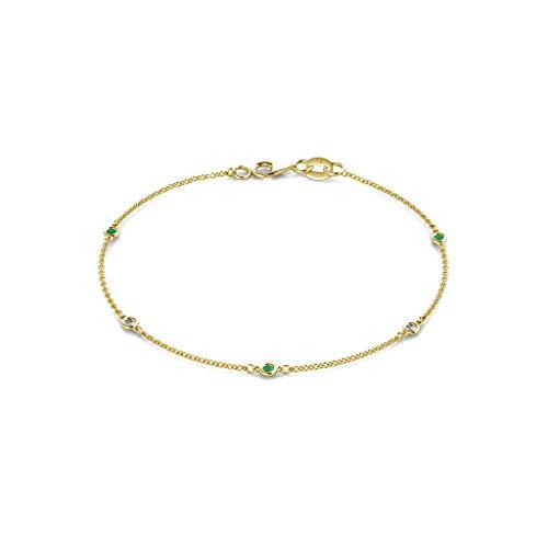 TriJewels 5 Stone Petite Emerald and Lab Grown Diamond Womens Station Bracelet (VS2-SI1, G-H) 0.13 ctw 14K Yellow Gold