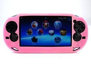 Case Star ® Hard Case/Cover plus 1 PCS of LCD Screen Protector for Playstation PS VITA (PCH-1000) (Silicone-Pink+ Clear LCD Screen Protector) ()
