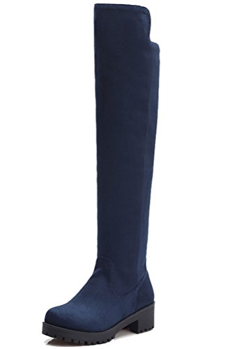 HiTime Ladies Classic Solid Colors Pull On Tall Boots Knee High Flats Fashion Boots Size 2-8 Blue (Winter) 0W6cis7Z7