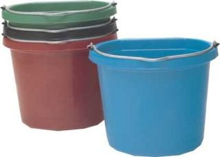 Fortiflex Flat Back Feed Bucket for Dogs/Cats and Small Animals, 14-Quart, Red