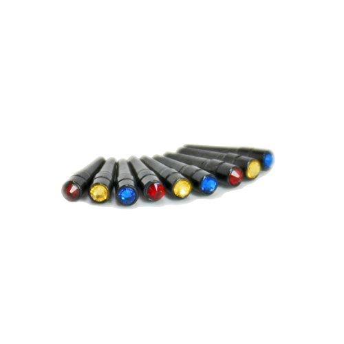 Swarovski Austrian Crystal Cribbage Pegs - Set of 9 Black Metal Pegs (3 red, 3 cobalt blue, 3 topaz) by WE Games