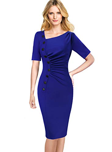 VFSHOW Womens Retro Asymmetric Neck Pleated Buttons Work Party Wiggle Dress 040 BLU XS ()