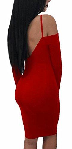 Jaycargogo Des Femmes De Sangle Spaghetti Profonde Moulante À Col V À Manches Longues Sexy Courte Rouge Robe Club