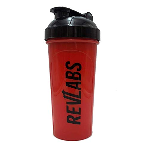 RevLabs Shaker Bottle (Red), 24oz Protein Shaker Fitness Water Bottle, Leak Proof Mixer Cup to Blend Supplement Powders with Ease