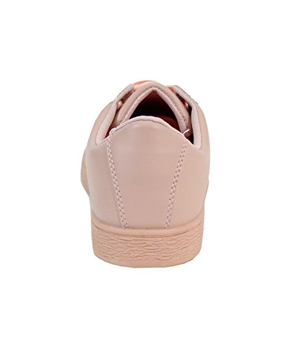 Style Cuir Basket Plate Shoes Femme Rose By fUzqW